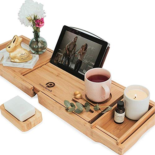 PRISTINE BAMBOO Bathtub Tray- Packed with 10 Features. Expandable Bath Caddy Tray for Tub. Book Reading, Wine Glass Holder. Wooden Bath Tub Shelf Across Tub. Use as bathtub trays, bathtubs accessories
