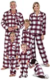 PajamaGram Christmas Pajamas for Family - Fleece Button-Up, Fireside, W 2X 20-22 Red