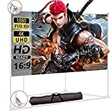 Projector Screen with Trapezoid Stand 100 inch 16:9 HD 4K 2-in-1 Outdoor Indoor Movie Projection for Camping,Recreational Events, Home Theater, Gaming Wrinkle-Free Portable Projection Screen