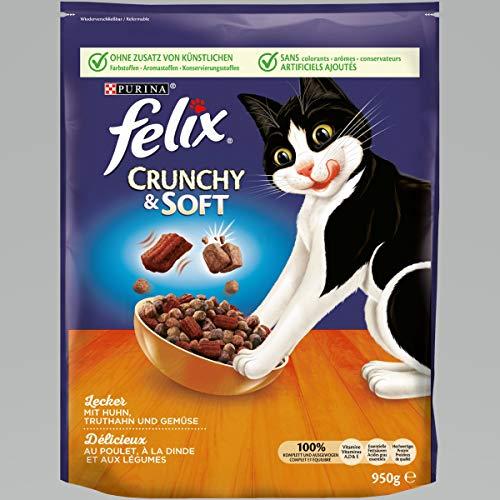 FELIX Crunchy & Soft Katzenfutter trocken, mit Huhn und Truthahn, 4er Pack (4 x...