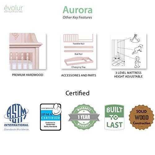Product Image 12: Evolur Aurora 5-in-1 Convertible Crib, Blush Pink Pearl