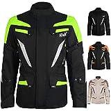 Adventure/Touring Men's Motorcycle Jacket Adv Dual Sport Racing CE Armored Waterproof Windproof Jackets All-Weather (Hi-Vis Green, 5XL)