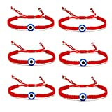 5-6 Pcs Evil Eye String Kabbalah Bracelets Hamsa Hand Hand-Woven Adjustable Red Rope Cord Thread Braided Bracelet Fatima Hand Ancient Friendship Charm Lucky Anklet for Women Girl Jewelry-1 eyes