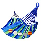 GOCAN Brazilian Double Hammock 2 Person Extra Large 220x160cm Total Length 330cm Load 500lb Canvas Cotton Hammock for Patio Porch Garden Backyard Lounging Outdoor and Indoor(Blue/Green) XXL
