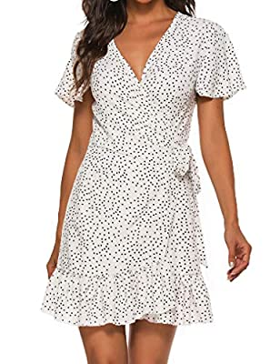 Material: soft and comfortable material for skin Features: wrap v neck,polka dot floral print,a line,short sleeve,empire tie waist,above knee-length,cap sleeve,ruffle hem Occasions:great for daily casual,beach,home,dress up,club,office,party,shopping...