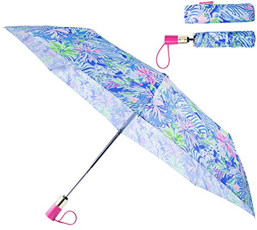 Lilly Pulitzer Women's Travel Umbrella with Automatic Open/Close and Storage Sleeve, Lion Around