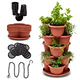 Stackable Planter Vertical Garden for Vegetables, Flowers, Herbs, Succulents, Microgreens, Gardening, 5 Tier Growing System for Indoor and Outdoor, Porch Towergarden, Hanging Planter with Starter Pots
