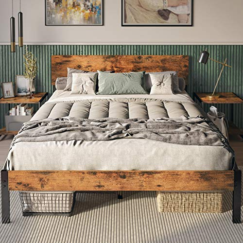 LIKIMIO Queen Bed Frame with Headboard, Strong Steel Slat Support, Tool-Free Assembly, Underbed Storage Space, No Box Spring Needed