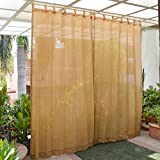 HIPPO - HDPE Fabric - Decorative Outdoor Loop Curtains Solid Pattern - 80%. to 85% Sun Blockage - Beige Color - 4.5 ft X 7.5 ft - Pack of 2 pcs