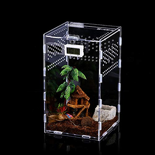 Caja de Alimentación de Insectos, 12x12x20cm Acrílico Transparente...