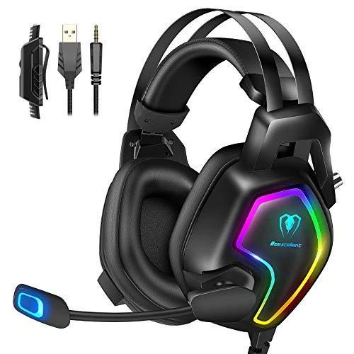 Casque Gaming PS4, Casque Gamer Pro Lightsync RVB pour PC Ultra-Léger Nouvel Bandeau de Suspension Stéréo Bass Anti Bruit Micro Compatible Xbox One… (RGB)
