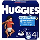 Huggies OverNites, Diapers, Size 4, 68 Count