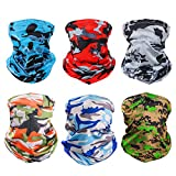 6 Pieces Sun UV Protection Face Mask Neck Gaiter Windproof Scarf Sunscreen Breathable Bandana Balaclava for Sport&Outdoor (Camouflage)…