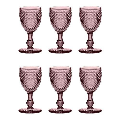 EME Mobiliario Copa de Cristal Tallado Picos en Color Rosa S