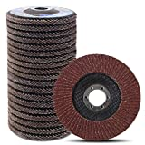 Coceca 4-1/2' Flap Disc, 20pcs Grinding Wheels and Sanding Discs for Angle Grinder, Type #27 Aluminum Oxide Abrasive Grinding Disc (40 60 80 120 Grit)