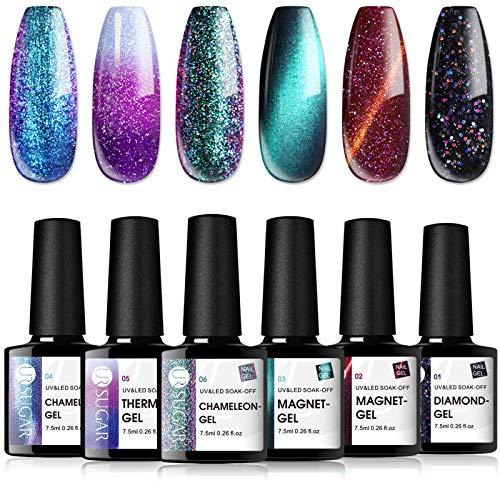 UR SUGAR Gel Nail Polish Set,Cat Magnetic Gel, Color Changing Gel,Glitter Gel, Chameleon Gel,Beautiful Sky UV Gel 6 Bottles Soak Off Nail Art Gel Kit