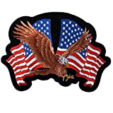 Officially Licensed Originals Eagle 2 Flags, American Eagle with USA Flags - High Thread Iron-On/Saw-On Rayon Patch - 4' x 3'