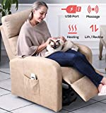 ERGOREAL Power Lift Recliner for Elderly Electric Lift Chairs with Heat and Massage Textured Suede Lift Chair USB Port and Side Pocket (Maize)