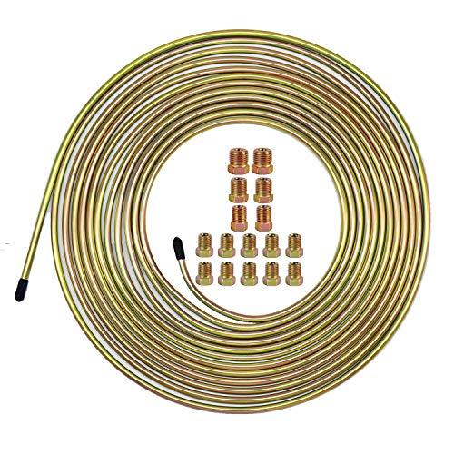 25 Ft. of 3/16 Brake Line Tubing Kit - Muhize Flexible Double Galvanized Steel Tube Roll 25 ft 3/16' (Includes 16 Fittings)
