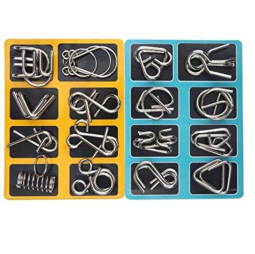 Knobelspiele Capalta Blume 16 Stück Metall Knobelei IQ-Spiele Set IQ Test 3D Brainteaser Puzzle...