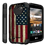 Untouchble Case for LG K3, LG LS450 (Virgin Mobile, Boost Mobile)[Traveler Series]- Dual Layer Hard Plastic Inner Silicone Stand Case - Vintage American Flag