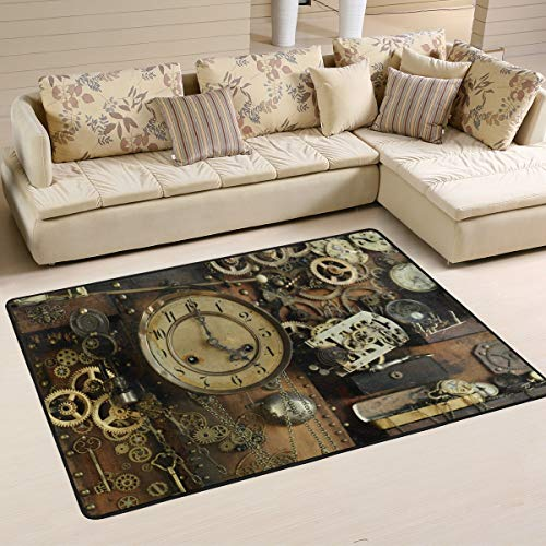 Mnsruu Steampunk Ancient Gear Clock Area Rug Rugs for Living Room Bedroom 91cm x 61cm(3 x 2 feet) (Kitchen & Home)