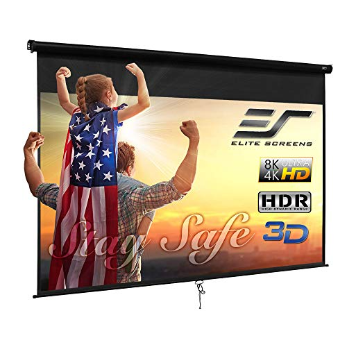 Elite Screens Manual B, 120-INCH 4:3, Manual Pull Down Projector Screen 4K / 8K Ultra HDR 3D Ready with Slow Retract Mechanism, 2-Year Warranty, M120V