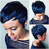 Naseily Short Blue Synthetic Wig Short Pixie Cut Synthetic Wigs For Black Women Cheap Wigs For Women