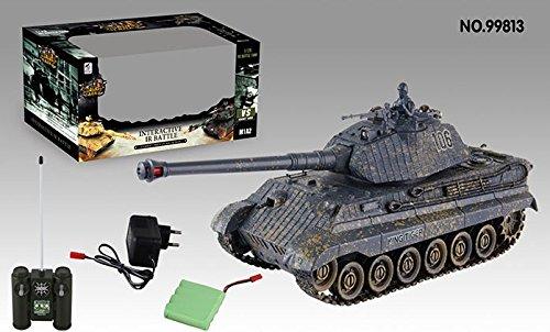 s-idee® 01661 Battle Panzer 1:28 mit integriertem Infrarot Kampfsystem 2.4 Ghz RC R/C ferngesteuert, Tank, Kettenfahrzeug, IR Schussfunktion, Sound, Licht, Neu, 1:24, Schuss Sound, Beleuchtung