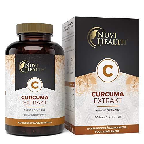 Nuvi Health® Curcuma Extrakt - 100 Kapseln mit 500 mg Extrakt - Einführungspreis - Extra hochdosiert mit 98{7eed3a5b926bc1111a9b54e693687eb3a0d9f4179ce1fc9fdda19a367044ebc9} Kurkumin - Curcumingehalt einer Kapsel entsprich ca. 15.750 mg Kurkuma Pulver