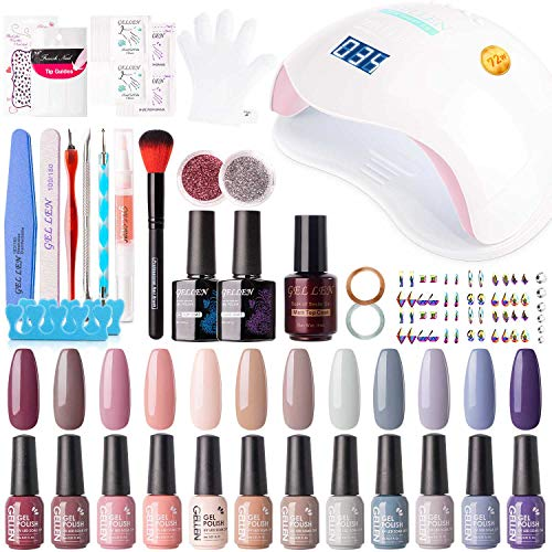 Gellen 12 Colors Gel Nail Polish Starter Kit - with 72W Nail Lamp, Essential Home Manicure Tools Popular DIY Nail Art Designs Matte/Glitters/Rhinestones, Nude Grays