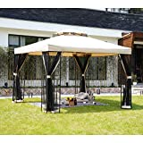 Grand patio 10x10 Feet Outdoor Gazebo Patio Economical Pergolas for Shade Outdoor Tents with Netting for Backyard, Garden, Pool-Side