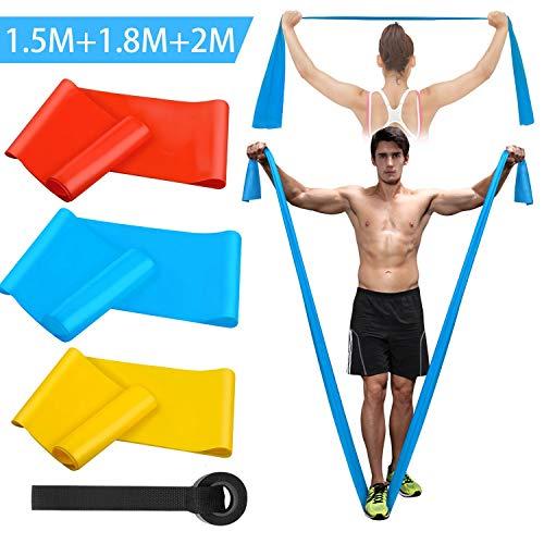 Kuyang Elastici Fitness (3 Pezzi), Bande Elastiche Fitness con 3 Livelli di Resistenza-1.5m/1.8m/2m Fasce Elastiche Fitness Perfette per Pilates, Yoga, Riabilitazione, Stretching, Allenamento