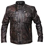 Distressed Goatskin Leather Biker Vintage Style Motorcycle Jacket (M)