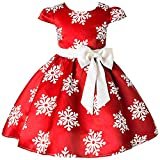2-9 Years Toddler Girls Christmas Dress Flower Girls Bow Knot Snowflake Print Xmas Eve Holiday Wedding Formal Party Dresses (100, 1- Christmas Flower Snowflake Red)
