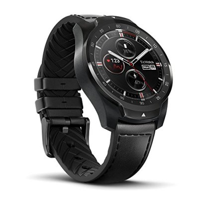Ticwatch Pro Premium Smartwatch with Layered Display for Long Battery Life, NFC Payment and GPS Build-in, Wear OS by Google, Compatible with iOS and Android, Black (Renewed)