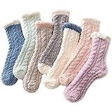 Zando Women's Fuzzy Socks Winter Warm Slipper Socks Super Soft Fluffy Socks Thick Microfiber Sleeping Sock Cozy Plush Socks for Girls 7/Patchwork One Size