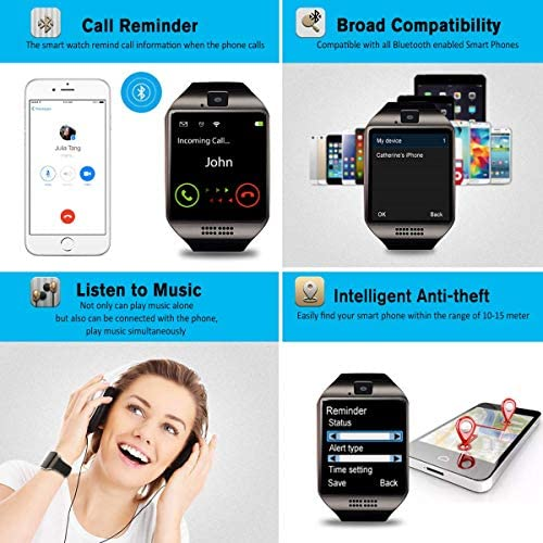 Mahipey Smart Watch,Smartwatch for Android Phones,Smart Watches Touchscreen with Camera Bluetooth Watch Cell Phone with Sim Card Slot Compatible Samsung Ios Phone 12 12 Pro 11 10 Men Women 15