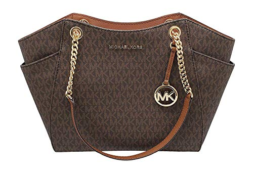 """51lnYI0nPBL Size Approximate Measurements: 11""""-14"""" L x 10.5"""" H x 4.5"""" D MK signature & Leather Double handles w/ leather & chains. Top zip closure MK Strap Logo, detail on front Exterior side pockets."""