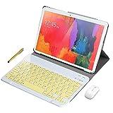 Tablet PC 10 pollici Android 10.0, Android tablet pc 10 pollici, scheda Dual Sim 4G LTE, 64 GB di RAM, 4 GB di RAM, WiFi/Bluetooth/Zoom/Team, Stereo con doppi altoparlanti-Argento