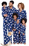 PajamaGram Family Matching Christmas Pajamas - Fleece, Navy, Women's, M, 8-10