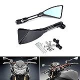 KATUR Moto Rétroviseur Noir Triangle Lame Démoniaque Style Moto 7/8'Guidon Montage CNC Billet en...