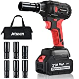 AOBEN 21V Cordless Impact Wrench Powerful Brushless Motor with 1/2' Square Driver, Max 300 Torque ft-lbs (400N.m), 4.0A Li-ion Battery, 6Pcs Driver Impact Sockets,Fast Charger and Tool Bag