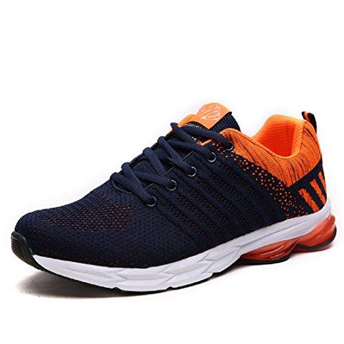ZapatillasRunningpara Hombre Aire Libre y Deporte Transpirables Casual Zapatos Gimnasio Correr Sneakers Naranja 43