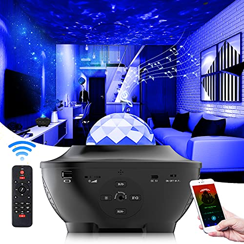 Galaxy Light Projector,NPET S1 3 in 1 Galaxy Lighting,Nebula Lamp Ocean Wave with Voice Control,Bluetooth Connected,Time Setting,Good Choice for Atmosphere in Bedroom,Bathroom and Party Activity.