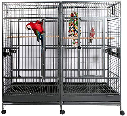 Bird | WesternPacific Large Double Macaw Parrot Cockatoo Bird Breeder Pet Cage w/Divider Black Vein (Black Vein), Gym exercise ab workouts - shap2.com
