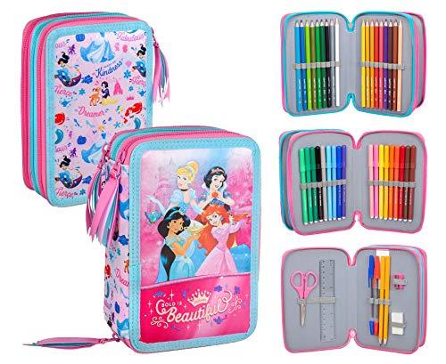 Principesse Disney Astuccio Triplo Riempito, 44 Accessori Scuola, 20 Centimetri