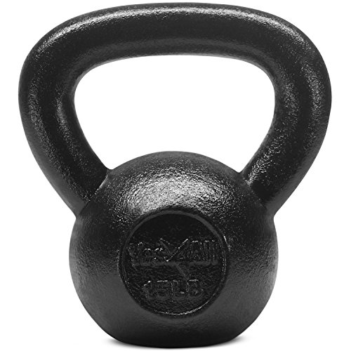 Yes4All Solid Cast Iron Kettlebell Weights Set  Great for Full Body Workout and Strength Training  Kettlebell 15 lbs (Black)