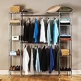 Seville Classics Double-Rod Expandable Clothes Rack Closet Organizer System, 58' to 83' W x 14' D x 72', Chrome