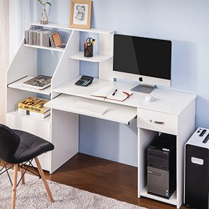 Harper&Bright designs Computer Desk with CabinetHome Office Desk, Computer Workstation, Study Writing Desk with Storage Drawer and Pull-Out Keyboard Tray